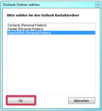 Outlook Kontaktordner