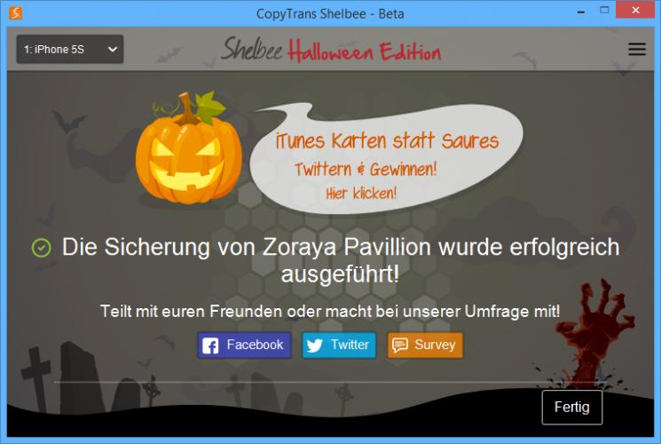copytrans shelbee full backup halloween 745x500 CopyTrans Shelbee Halloween Edition Jetzt mitmachen und 4x1 iTunes Karte gewinnen!