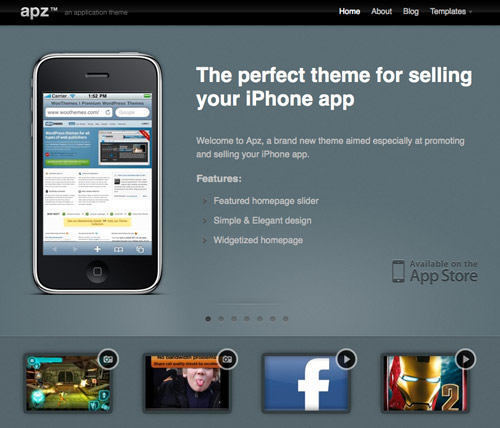 die besten iphone app wordpress themes iphone4ever. Black Bedroom Furniture Sets. Home Design Ideas